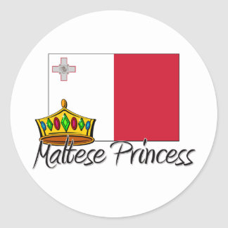Maltese Princess Round Sticker