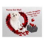 Maltese Pup You've Got Mail Puppy Hugs Valentine