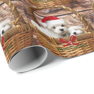 Maltese Puppies in a Christmas Basket Wrapping Paper