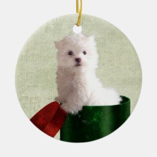 Maltese puppy Christmas Christmas Ornament