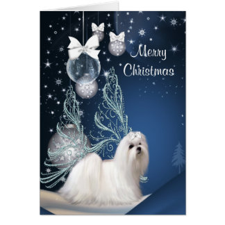 Maltese Puppy Dog Christmas Card