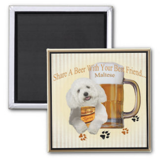 Maltese Share A Beer With Your Best Friend Square Magnet