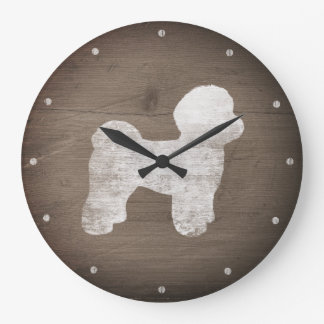 Maltese Silhouette Rustic Large Clock