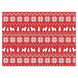 Maltese Silhouettes Christmas Pattern Red Tissue Paper