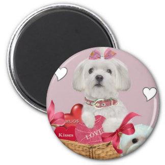 Maltese Valentine Art 6 Cm Round Magnet