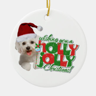 Maltese wishing holly jolly Christmas Double-Sided Ceramic Round Christmas Ornament