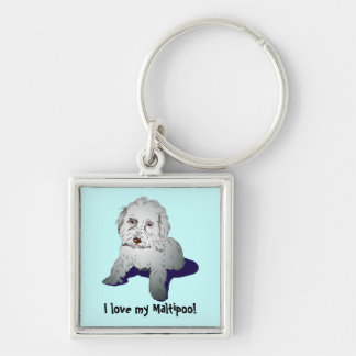 Maltipoo Cute Puppy Silver-Colored Square Key Ring
