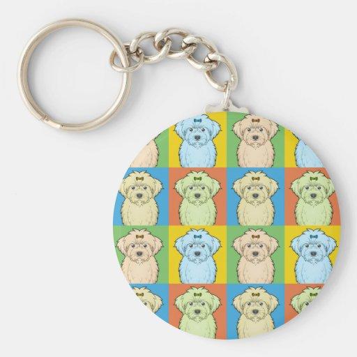 Maltipoo Dog Cartoon Pop-Art Key Chains