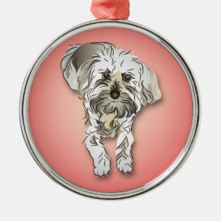 Maltipoo Dog on Pink Silver-Colored Round Decoration