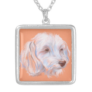 Maltipoo Dog Pastel Art Silver Plated Necklace