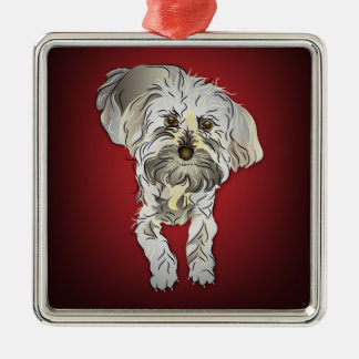 Maltipoo Puppy on Red Christmas Ornament