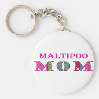 MaltipooMom Basic Round Button Key Ring