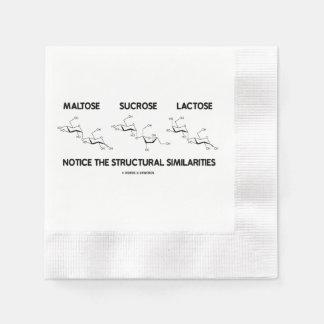 Maltose Sucrose Lactose Structural Similarities Disposable Serviettes