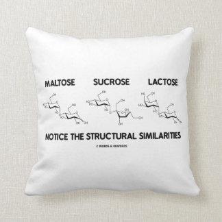 Maltose Sucrose Lactose Structural Similarities Throw Cushions