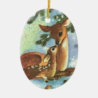 Mama and Baby Deer Ceramic Christmas Ornament