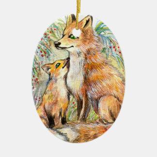 Mama And Baby Fox Christmas Ornament