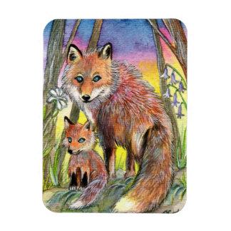 Mama And Baby Fox Rectangular Photo Magnet