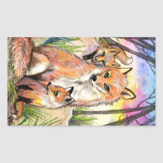 Mama And Baby Foxes Rectangular Sticker