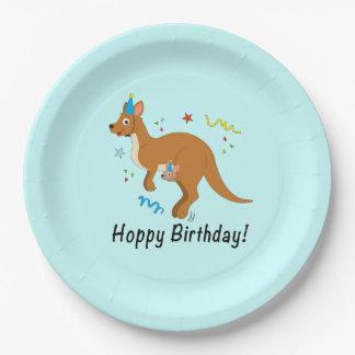 Mama and Baby Kangaroo in Birthday Hats Paper Plate