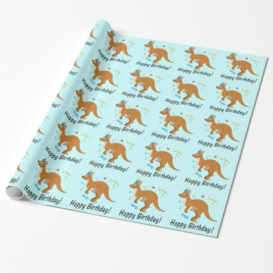 Mama And Baby Kangaroos With Birthday Hats Wrapping Paper Zazzle Co Uk