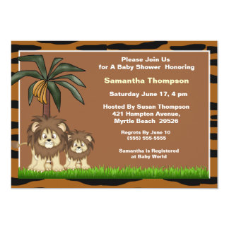 Mama and Baby Lion Baby Shower Invitations