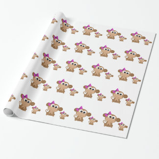 Mama and baby monkey wrapping paper
