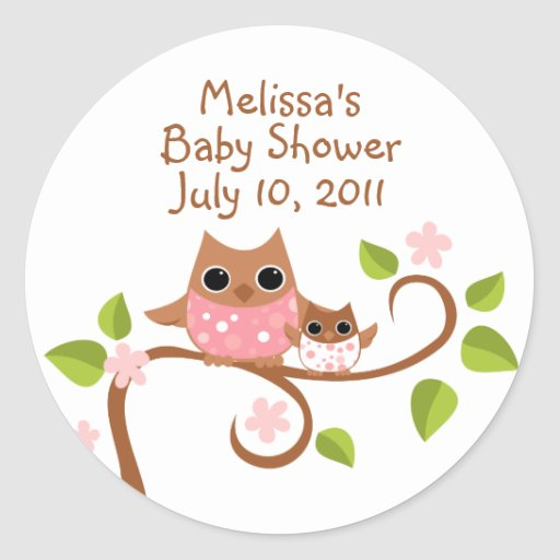 Mama and Baby Owls Round Sticker