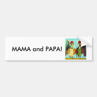 MAMA and PAPA American Gothic Roosters Bumper Sticker