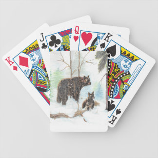 Mama Bear and Baby Bicycle Playing Cards