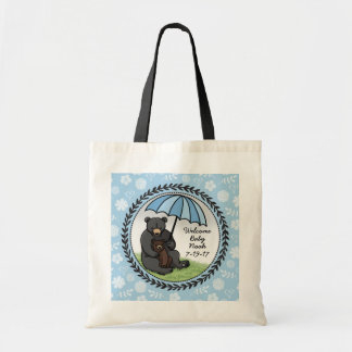 Mama Bear and Cub, Personalized Welcome Baby Boy Budget Tote Bag