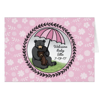 Mama Bear and Cub, Personalized Welcome Baby Girl Card