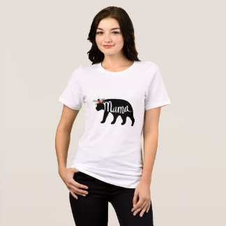Mama Bear Flower Crown T Shirt - Black Bear
