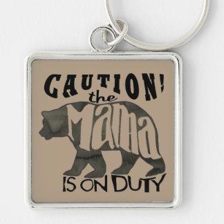 Mama Bear On Duty: Caution! Keychain