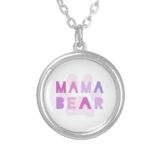 Mama bear silver plated necklace