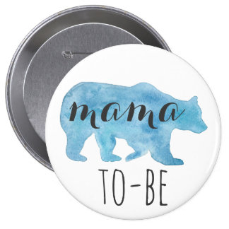 Mama Bear To-Be Watercolor Button