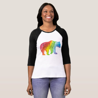 Mama Bear Watercolor Family Pride Womens Raglan T-Shirt
