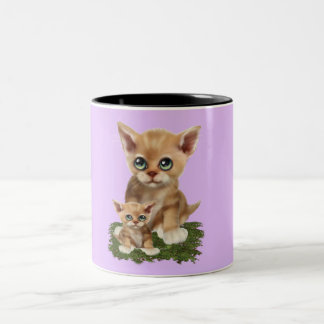 Mama Cat and her Kitten Two-Tone Coffee Mug