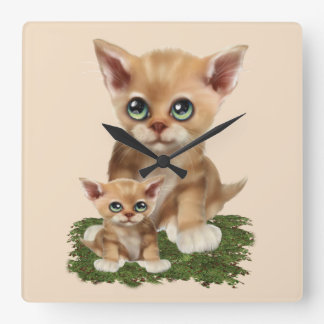 Mama Cat and her Kitten Wall Clock