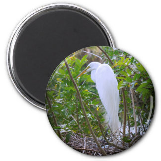 Mama Egret 6 Cm Round Magnet