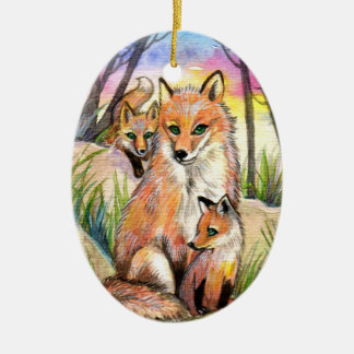 Mama Fox And Baby Foxes At Sunset Woods Ceramic Oval Decoration