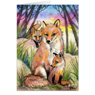 Mama Fox and Baby Foxes in Sunset Woods Card