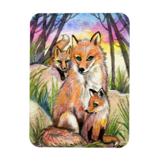 Mama Fox and Baby Foxes in Sunset Woods Rectangular Photo Magnet
