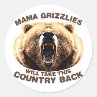 Mama Grizzlies Round Sticker