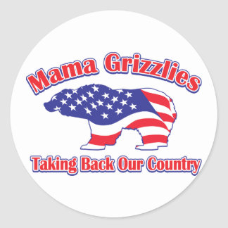 Mama Grizzlies Taking Back Our Country Round Sticker
