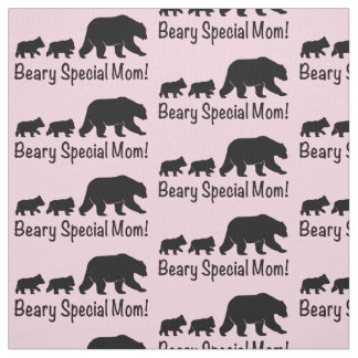 Mama Grizzly Bear and Cubs Fabric
