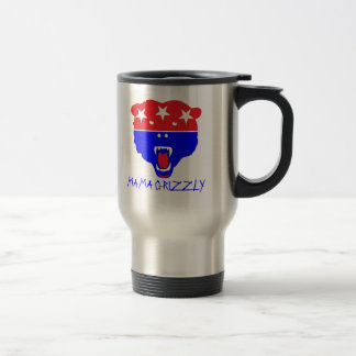 MAMA GRIZZLY STAINLESS STEEL TRAVEL MUG
