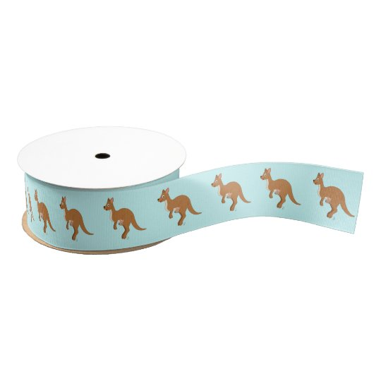 Mama Kangaroo and Baby 1.5 In. Grosgrain Ribbon