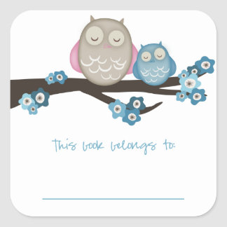 Mama Owl & Baby {Blue} | Bookplates Square Sticker