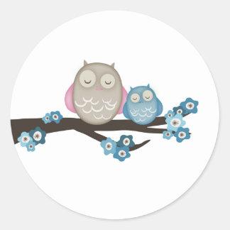 Mama Owl & Baby {Blue} | Stickers