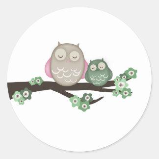 Mama Owl & Baby {Green} | Stickers